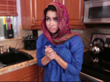 Pretty foreign exchange student from the Middle East has her tight wet