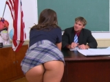 Beautiful brunette schoolgirl shows off her hot body and lets her