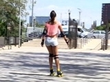 Rollerblading Latina Gets Drilled